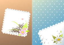 Vues pour la carte avec des fleurs et des haricots Photo stock