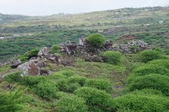 Vues renversantes du point le plus élevé sur la côte du sud de l'île de Rodriguez photo stock
