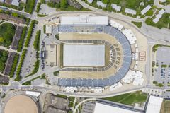 Vues a?riennes de Ross-Ade Stadium On The Campus d'Universit? de Purdue images stock