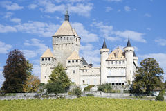 Vufflens Castle. Front view Vufflens Castle, located in the city of Vaud, Switzerland Stock Photography