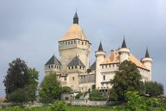 Vufflens Castle. In Morges, landmark fairy tale castle in Switzerland Stock Image