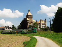 Vufflens Castle With Swiss Train Royalty Free Stock Photo