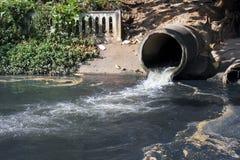 Vuil afvoerkanaal, Watervervuiling in rivier Stock Foto's