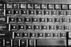 Vuil computertoetsenbord met verwijderde sleutels Stock Fotografie