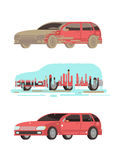 Vuil en schoon glans auto De vectorreeks van wasstadia stock illustratie