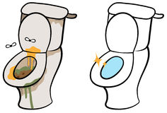Vuil en schoon toilet Stock Foto