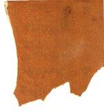 Vuil gebruikt ruw houten schuurpapier met haveloze randen op witte achtergrond Royalty-vrije Stock Foto