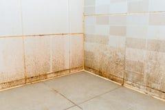 Vuil op ceramische muur in badkamers royalty-vrije stock afbeelding