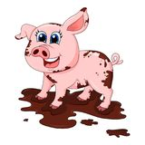 Vuil varken in het karakter vectordieontwerp van het modderbeeldverhaal op whi wordt geïsoleerd vector illustratie
