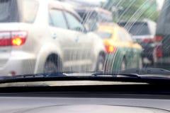 Vuil Windscherm, Verontreinigings Autoglas vuil met binnenlandse mening in auto royalty-vrije stock fotografie