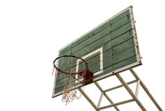 Vuile basketbal houten raad, grunge, oud op witte achtergrond, Stock Fotografie