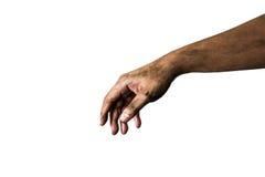 Vuile die hand op een witte achtergrond wordt geïsoleerd Royalty-vrije Stock Foto's