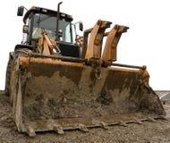 Vuile gele geïsoleerdet bulldozer Stock Afbeeldingen