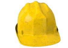 Vuile Gele veiligheidshelm of bouwvakker op witte achtergrond Stock Foto