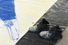 Vuile laarzen royalty-vrije stock foto