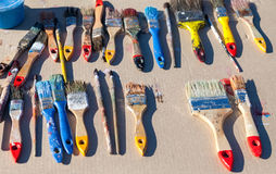 Vuile oude verfborstels Stock Fotografie