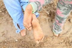 Vuile zolen van naakte voeten Royalty-vrije Stock Foto