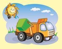 Vuilnisauto en de zon royalty-vrije illustratie