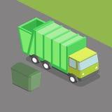Vuilnisauto isometrische vectorillustratie stock illustratie