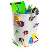 Vuilnisbak met potloden Stock Foto