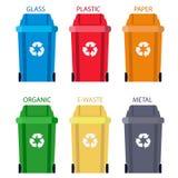 Vuilnisbakscheiding van afval Het vuilnisbak van het verwijderingsafval Vector Royalty-vrije Stock Afbeelding