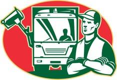 Vuilnisman en de ZijVrachtwagen van het Vuilnis van de Lader Royalty-vrije Stock Fotografie