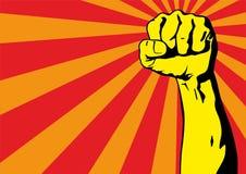 Vuist mannelijke hand, proletarisch protestsymbool Dichtgeklemde die vuist in het teken van de protestmacht wordt gehouden stock illustratie