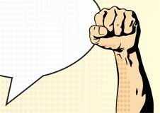 Vuist mannelijke hand, proletarisch protestsymbool Dichtgeklemde die vuist in het teken van de protestmacht wordt gehouden vector illustratie
