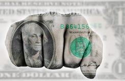 Vuist met één ons dollar Royalty-vrije Stock Afbeeldingen