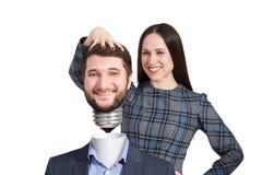 Vuist tonen en vrouw die neer kijken Royalty-vrije Stock Afbeeldingen
