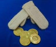 Vuisthandschoenen en chocolademuntstukken royalty-vrije stock afbeelding