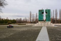 Vukovar Military Cemetery. Vukovar, Croatia - January 1st 2019. Eternal Flame memorial for the casualties of the Homeland War or the Croatian War of Independence stock photography