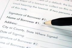 Vul de naam voor de lener in royalty-vrije stock afbeelding