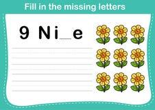 Vul de ontbrekende brieven in stock illustratie