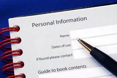 Vul de persoonlijke informatie in royalty-vrije stock foto