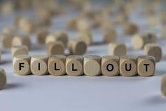 Vul - kubus met brieven in, teken met houten kubussen royalty-vrije stock afbeeldingen