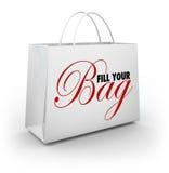Vul Uw Zak Shopping spree besteden verspillen Fuifgeld vector illustratie