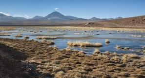 Vulcão ativo Putana igualmente conhecido como Jorqencal ou Machuca perto de Vado Rio Putana no deserto de Atacama, o Chile imagem de stock