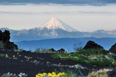 Vulcão de Kronotsky - vulcão ativo na península de Kamchatka foto de stock