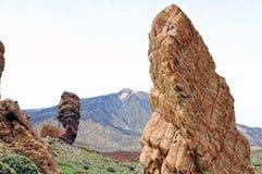 Vulcão de Pico del teide com formação de pedra roques de García Imagens de Stock Royalty Free