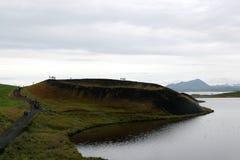 Vulcão inoperante na área de Myvatn com flores Fotos de Stock Royalty Free
