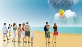 Vulcão que entra em erupção Fotografia de Stock