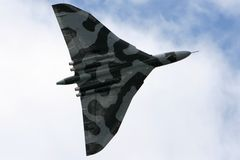 Vulcan Bomber. The only flying Vulcan displays at Farnborough UK in 2008 royalty free stock image