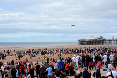 A Vulcan bomber over Blackpool pier Stock Photos