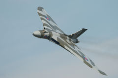 Vulcan Bomber. Vintage British Cold War nuclear Vulcan Bomber in flight Stock Images