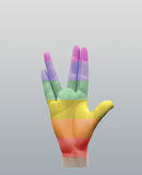 Vulcan Greeting Rainbow. Vulcan Greeting in Rainbow Colors. Human elements were created with 3D software and are not from any actual human likenesses Stock Photography