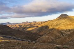 Vulcan mountains on the Canary Islands at sunset. Stock Photo