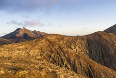 Vulcan mountains on the Canary Islands at sunset. Stock Photography