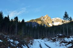 Vulcan's Thumb in winter, Squamish Valley, BC Stock Image