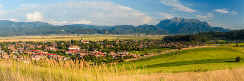 Vulcan village and bucegi mountain in transylvania Stock Images